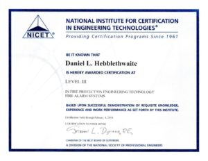 Daniel Hebblethwaite NICET Level 3