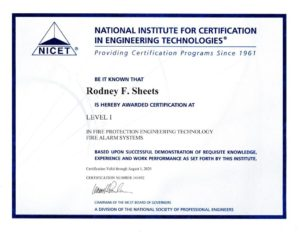 Rodney Sheets NICET Level 1